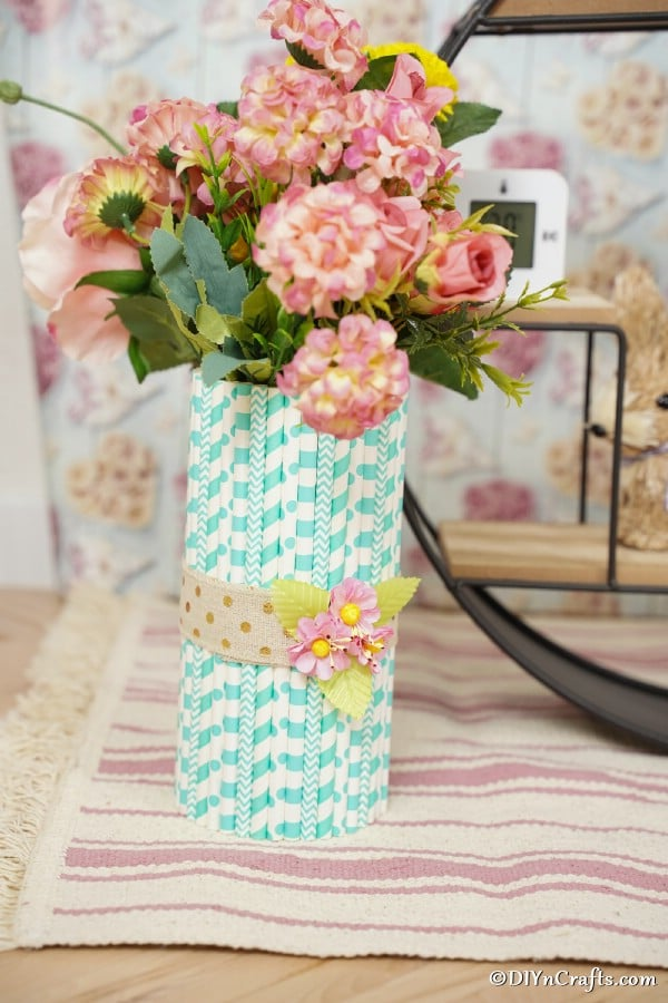 Mason jar vase filled with flowers