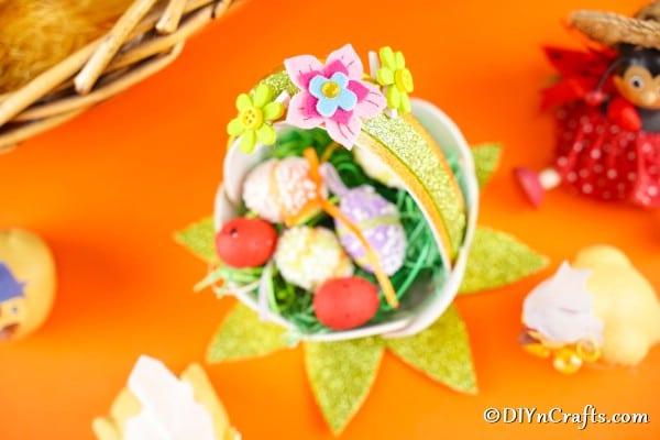 Mini basket filled with mini eggs