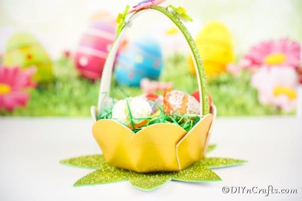 Eater egg basket on white surface