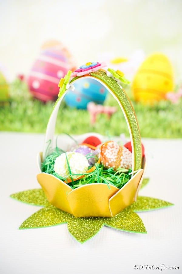 Easter basket in front of Easter background