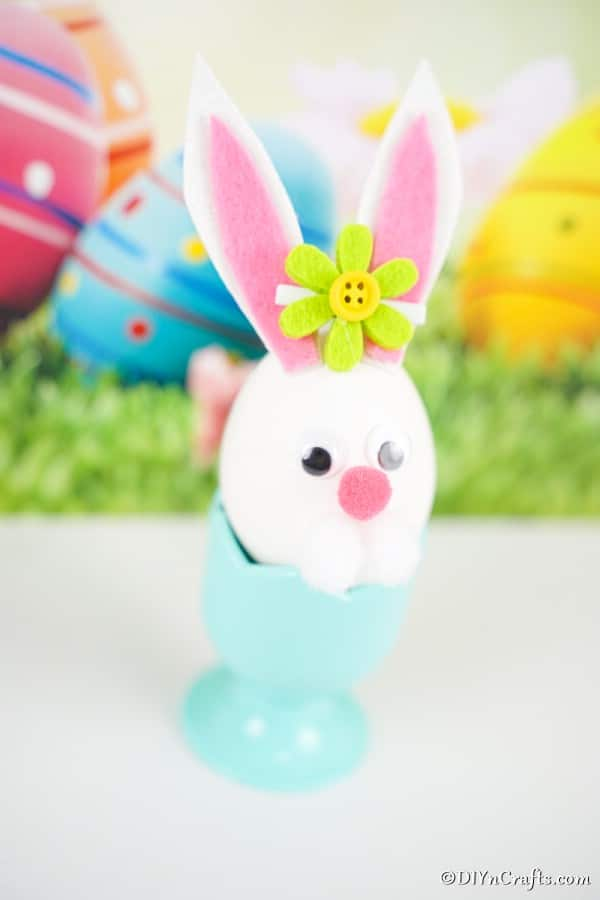 Easter egg bunny in egg cup