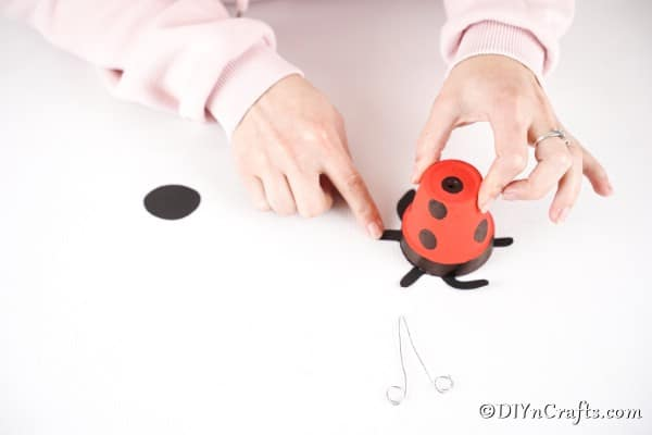 Glue legs onto the ladybug
