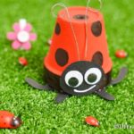 Flower pot ladybug on fake grass
