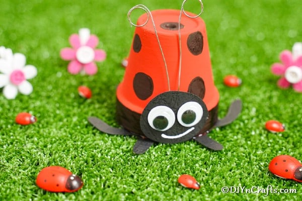 Cute DIY Upcycled Flower Pot Ladybug
