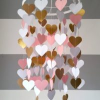 Heart Paper Mobile Pink & Gold