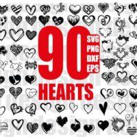 90 Heart Doodle SVF Files