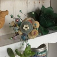 Button Flower Bouquet, Buttons and Beads Rescued and Reclaimed
