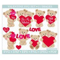 Cuddly Bear Valentine SVG Files