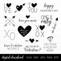 Black & White Valentine SVG Files