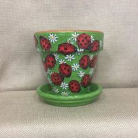 Ladybug Painted Flower Pot