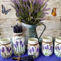 Lavender Flower Mason Jar Vases