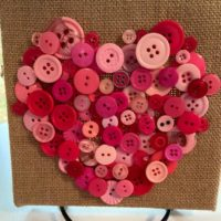 Pink Button Heart on Burlap Canvas