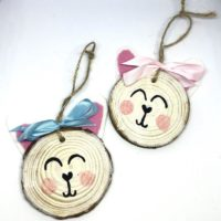 Easter Bunny Wood Slice Wall Decor