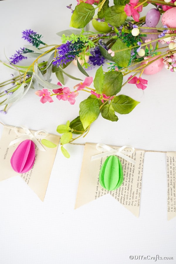 Old book page Easter egg garland
