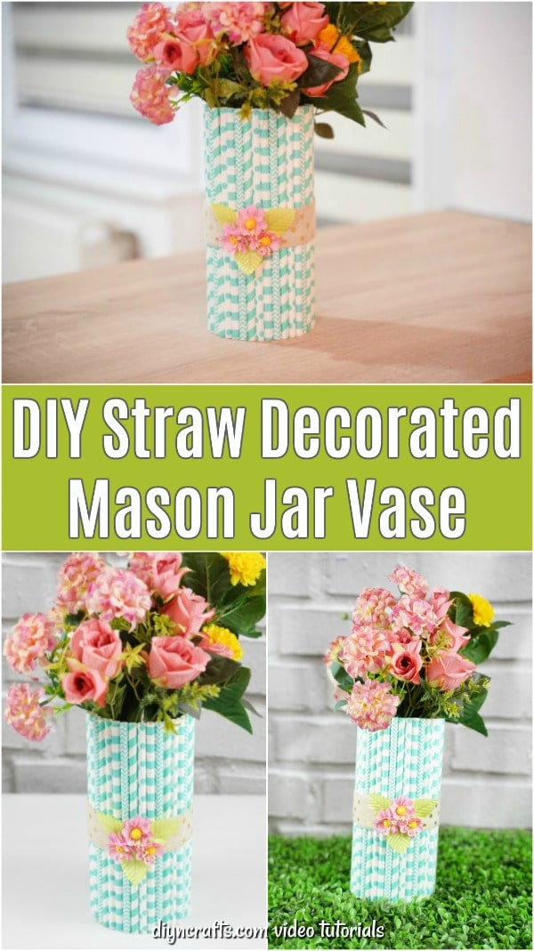 Collage of straw covered mason jar vase