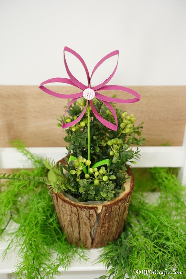Toilet paper roll flower in small planter