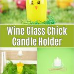 Yellow painted wine glass bird picture collage