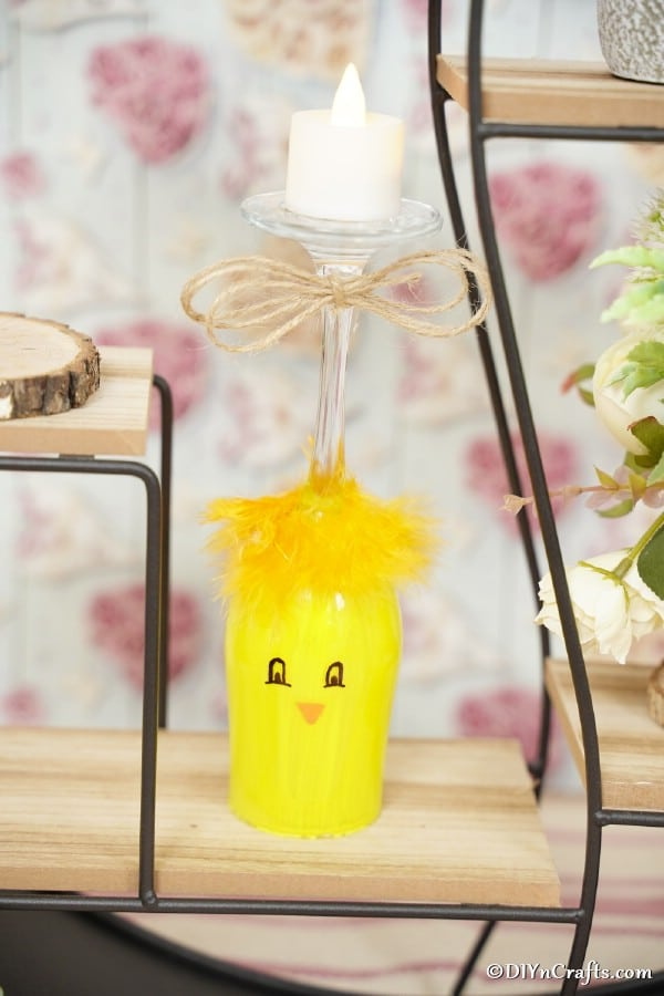 Painted chicken wine glass decoration on wood and wire shelf