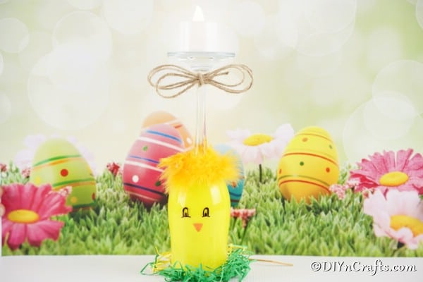 Wine glass chicken in front of Easter background
