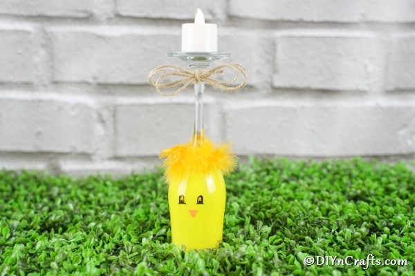 Cute DIY Wine Glass Chick Candle Holder
