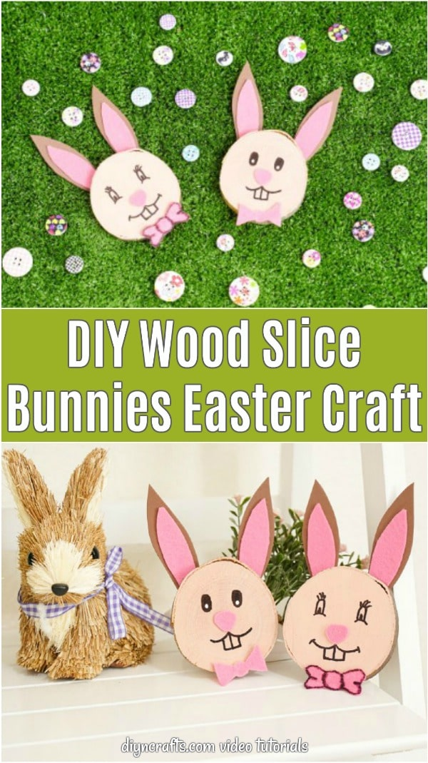 Wood slice bunnies collage