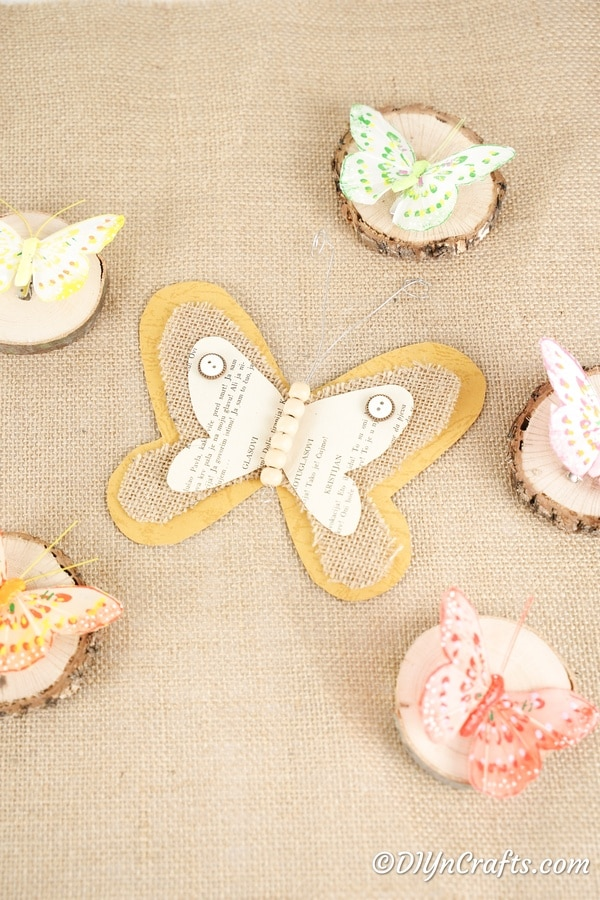 Burlap butterfly on a larger piece of burlap