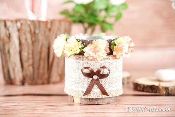 Decorative storage can with burlap and lace