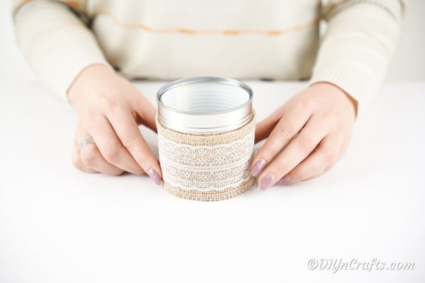 Gluing burlap and lace to tin can