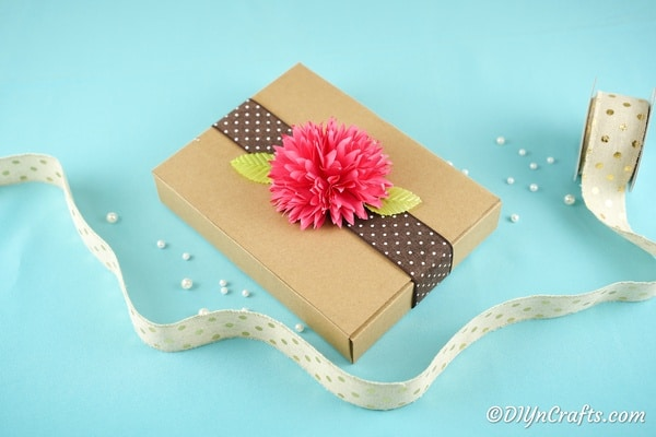 Paper flower on a package