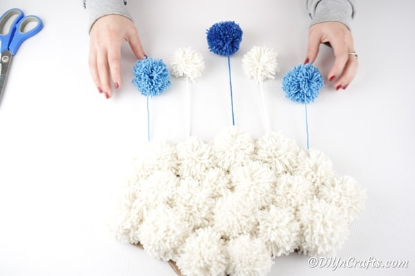 Finished yarn pom pom cloud