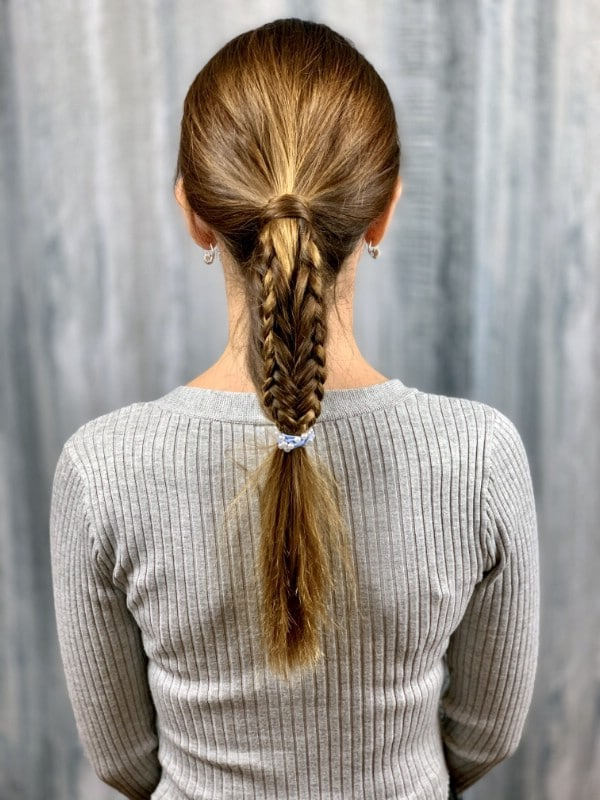 Back view of a fishtail braid ponytail
