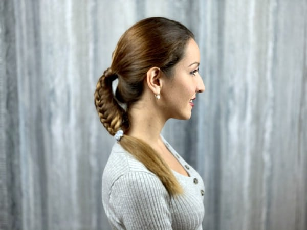Side view of fishtail ponytail