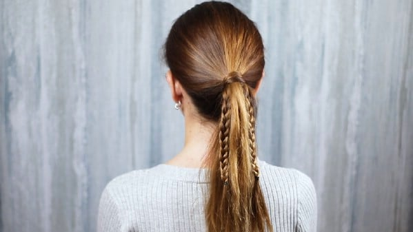 Showing braided ponytail pieces