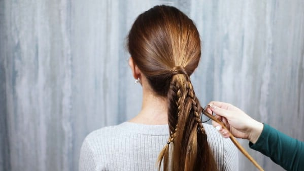 Creating a fish tail braid in ponytail