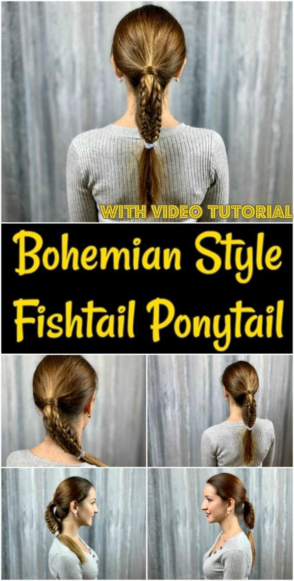 Bohemian fishtail ponytail collage