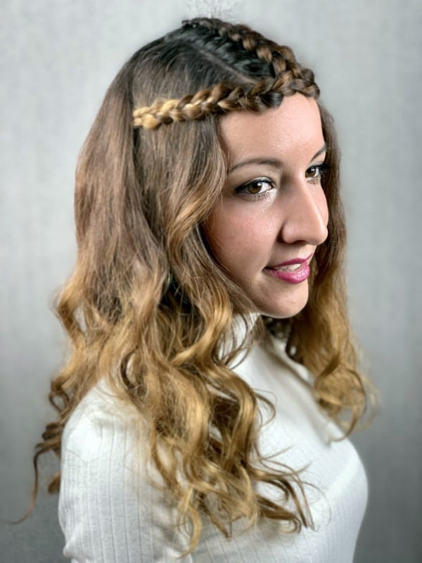 Brunette with braided crown princess hairstyle