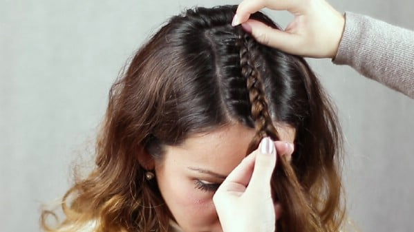 Ending braid at forehead