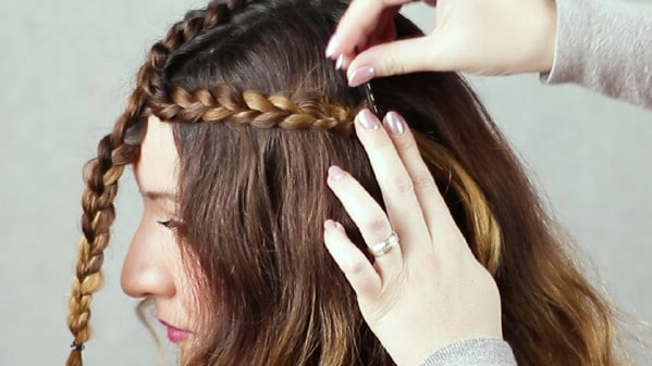 Pinning braid to side of head