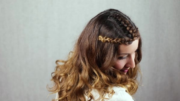 Princess crown hairstyle looking down