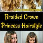 Braided crown princess hairstyle collage
