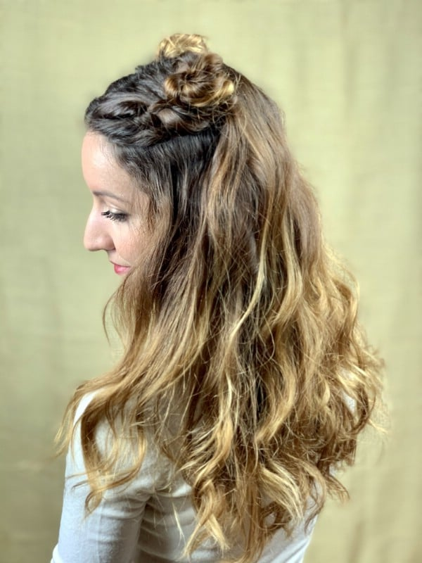 Side view of dual top knot hairstyle