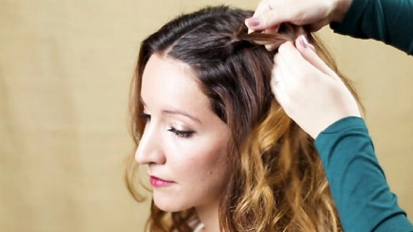Braiding the top side of brown hair