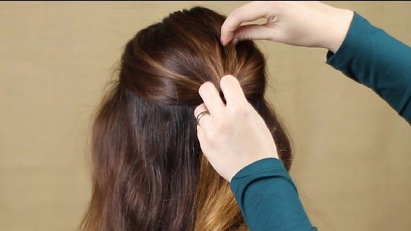 Separating the top section of hair