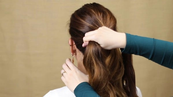 Separating the side section of hair