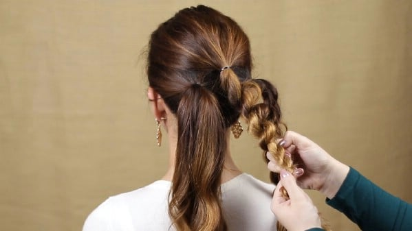 Twisting and braiding ponytails