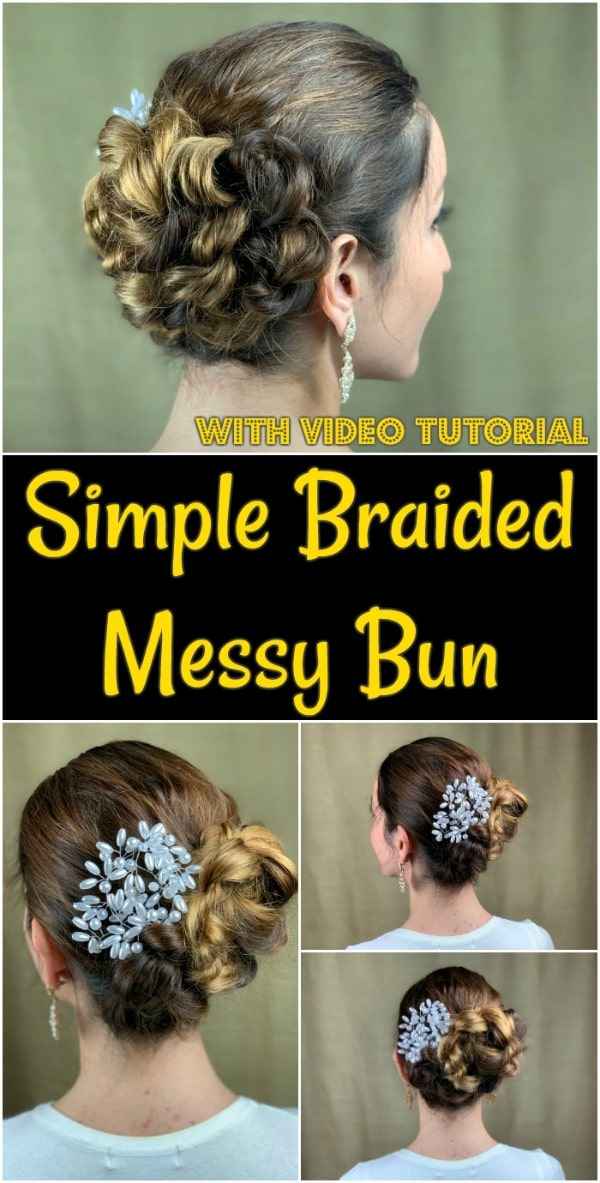Collage of braided messy bun