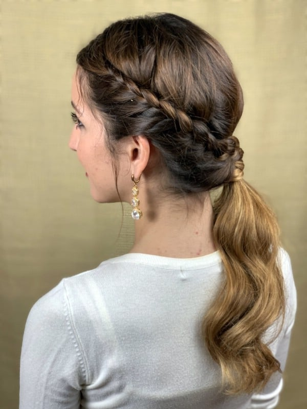 Brunette with braided side ponytail