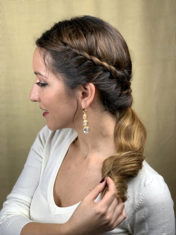 Brunette with side braided ponytail