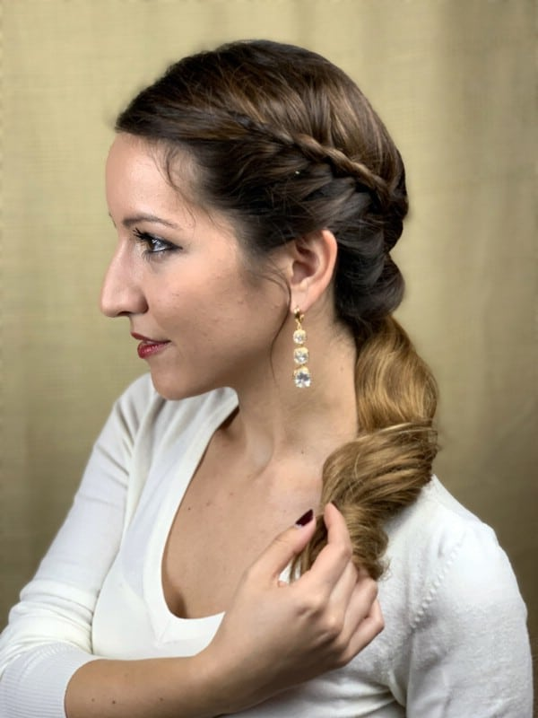 Side view of braided side ponytail
