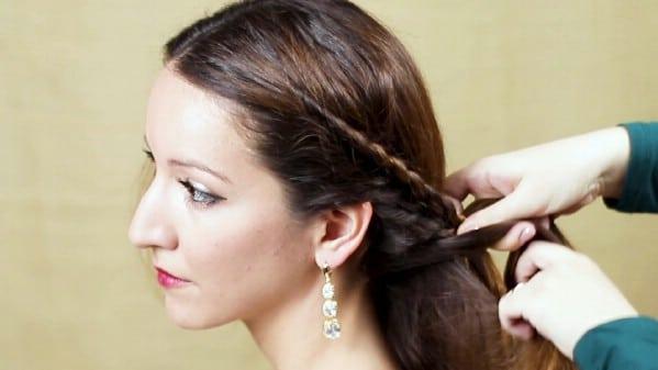 Bringing braid around the back of head